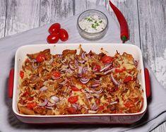 Pasta schotel met shoarma, prei, paprika en tomaat - De keuken van Ursie Slow Cooking, Vegetable Pizza, Pasta, Vegetables, Drinks, Food, Tomatoes, Drinking, Beverages