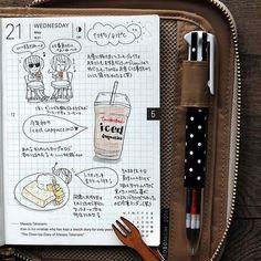 2014-05-21  コーヒーとケーキで1日を乗り切る日。連休は嬉しいんだけど、5日の仕事を4日でやるのは辛いっす…(。-_-。) まぁ、結局出来なくて溜まっていくのだが。        #hobonichi #ほぼ日手帳 #絵日記倶楽部 #ほぼ日
