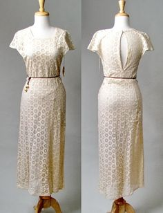 lace 1930s dress with keyhole back
