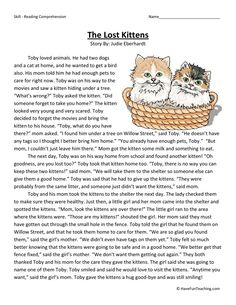 This Reading Comprehension Worksheet - The Lost Kittens is for teaching reading comprehension. Use this reading comprehension story to teach reading comprehension.