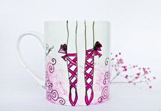 Painted Mug  Pink Ballet Shoes Cup  Coffee Mug by CraftUnikat, $35.00