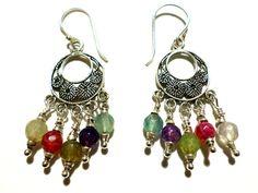 Rainbow Agate and Sterling Silver Hoop Earrings by StaggsLane, $35.00