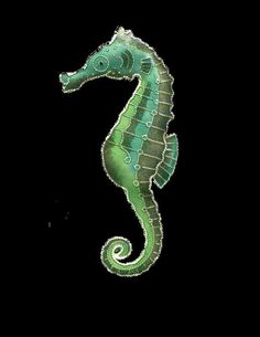 SEAHORSE Green Cloisonne PIN by Bamboo Jewelry STERLING SILVER Enamel  Gift Box…