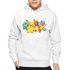 Guy's Pokemon Pikachu Charmander Squirtle Hooded Sweatshirt Hoodies – Pokemon Hoodie for Men