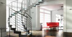 Treppen Laser | Formstep Treppen    LASER SPIRAL GLASS Z ist eine Treppe mit einer Stahlwange in Z- Ausführung und beidseitigem Edelstahlgeländer. Die Stufen wurden bei dieser Stiege in Glas ausgeführt.