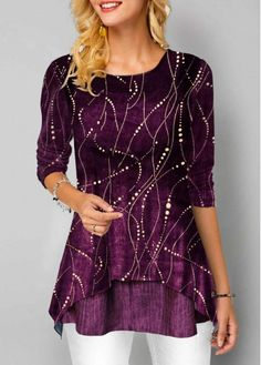 New Arrival | Liligal.com Trendy Tops For Women, T Shirts For Women, Stylish Tops, Half Sleeves, Types Of Sleeves, Velvet T Shirt, Purple T Shirts, Shirt Bluse, Long Sleeve Shirts
