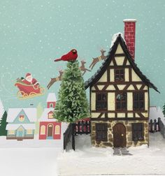 Christmas paper house for a Christmas Village Free pattern to make the German Half-Timbered Paper house #putzhouse #christmasvillage #glitterhouse #papercraft