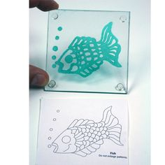 This project is created with Etch cream in a Needle tip applicator bottle and a design from a clip-art book. You can also use a picture from a coloring book.   http://www.etchtalk.com/Item/fish-painted-coaster