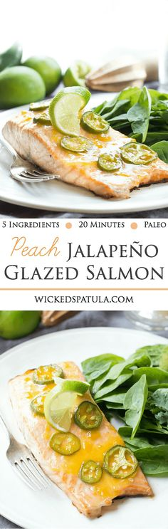 5 ingredients and 20 minutes is all that stands before you and this sweet and spicy Peach Jalapeño Glazed Salmon! It's a quick and easy Paleo dinner! Salmon Recipes, Fish Recipes, Seafood Recipes, Whole Food Recipes, Cooking Recipes, Healthy Recipes, Salmon Dishes, Seafood Dishes, I Love Food