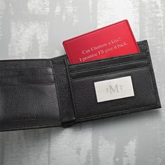 Hide a little love note in his wallet with this secret message card. This engravable red card is FREE with any wallet purchase at #ThingsRemembered #giftideas #ValentinesDay