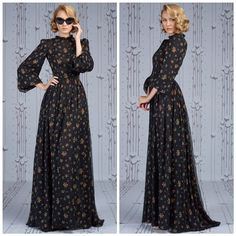 Ulyana Sergeenko Modest Fashion, Boho Fashion, Vintage Fashion, Fashion Outfits, English Dress, Vintage Dresses, Vintage Outfits, Modele Hijab, African Fashion Dresses