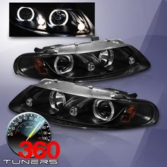 97-00 Dodge Avenger Halo Projector Headlights with LED - (Black) Pair