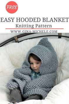 Free Knitting Pattern for this Easy Hooded Baby Blanket. Perfect for beginners!