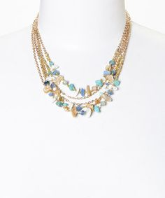 Look what I found on #zulily! PANNEE JEWELRY Gold & Blue Stone Chip Layer Necklace by PANNEE JEWELRY #zulilyfinds