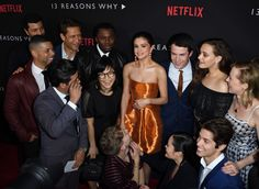 "Selena Gomez and the cast of TRW at the premiere of her Netflix show ""13 Reasons Why"""