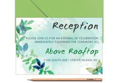 Bestpoke WEDDING RECEPTION CARD Printed or by LoveArtsStationery