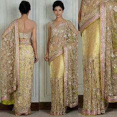 Gold Net Embroidered Sari - Manish Malhotra Saree