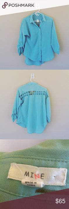 Cute MINE women's visual back blouse In great condition .Got to love the pretty turquoise color..polyester material .this shirt exposes the back. has a nice silky look to it! OFFERS ARE ACCEPTED! mine Tops Blouses