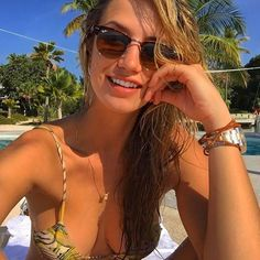 Gorgeous Brazilian Model Leticia Santos in RayBans Clubmasters @leticiasantos08 #rayban #clubmaster #brazil #models www.foursunnies.com