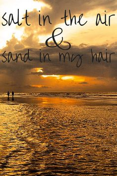 Happiness is salt in the air and sand in my hair. #beach #quotes