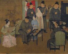 """Gu Hongzhong (顾闳中)  , 五代 顾闳中 韩熙载夜宴图 : """"听乐""""段。 第一段听琵琶演奏  描绘了韩熙载与宾客们正在聆听弹奏琵琶的情景,画家着重地表现演奏刚开始,全场气氛凝注的一刹那。此段出现人物最多,计有七男五女,有的可确指其人,弹琵琶者为教坊副使李佳明之妹,李佳明离她最近并侧头向着她,穿红袍者为状元郎粲。另有韩的门生舒雅、宠妓弱兰和王屋山等。"""