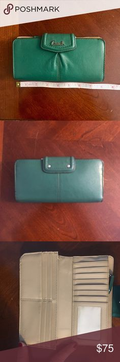 Teal Authentic leather Coach wallet Hardly used Teal Coach wallet Coach Bags Wallets