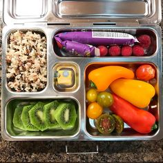 Wednesday's @planetbox lunch is organic rice, @annieshomegrown whole milk yogurt, raspberries, sweet peppers, grape heirloom tomatoes, and kiwi. #lunch #bento #bentobox #organic #organicfood #healthy #healthyfood #healthykids #healthylife #healthyeating #Healthyfamily #instafood #instagood #eatyourveggies #eattherainbow #cleaneats #cleaneating #healthychoices #picoftheday #foodpic #foodie #eeeeeats #feedfeed #yum #healthymeals #kidslunch #momlife #planetbox #kidsnutrition #healthychildren