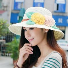 Summer bucket sun straw hats with flower for women