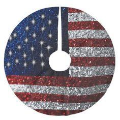 American Flag in Glitter Brushed Polyester Tree Skirt