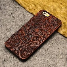 Genuine Walnut Bamboo Carving Patterns Wood Slice+Durable Plastic Phone Case
