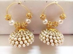 LATEST MODEL SILK THREAD PEARL JHUMKAS  EAR RINGS ::::FOR LADIES