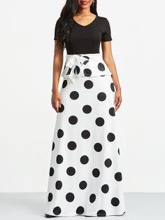 Ericdress White Polka Dots V-Neck Color Block Maxi Dress African Fashion Dresses, African Dress, Fashion Outfits, Pretty Black Dresses, Simple Dresses, Women's A Line Dresses, Fishtail Dress, Long Summer Dresses, Dot Dress