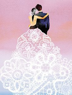 Lace Couple is a poetic Masha D'yans wedding and anniversary card depicting young newlyweds in swoon-worthy lace ready to face a glorious future. Wedding Illustration, Couple Illustration, Illustration Art, Wedding Art, Wedding Album, Wedding Couples, Card Wedding, Wedding Invitation, Watercolor Sunset