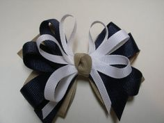 Khaki Navy and White Hair Bow Back to School by HareBizBows