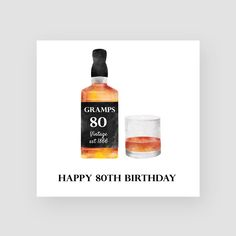 A water coloured 80th birthday card featuring a hand drawn whisky design, a personalised name and age. Just one from our selection of personalised handmade birthday cards. This design is printed on bright white, lightly textured 300gsm heavy art card (measuring 148mm x 148mm), includes a high quality white envelope and comes packaged in a cellophane sleeve.  65th Birthday Cards, Happy 75th Birthday, Forty Birthday, Birthday Cards For Him, Personalized Birthday Cards, Handmade Birthday Cards, Personalised Whisky, Hand Drawn, Envelope