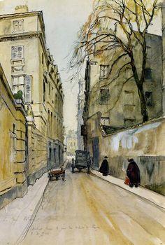 Alexandre Nikolayevich Benois (1870-1960) Rue Ferrand à Paris . 1924 Aquarelle sur papier, crayon graphite. 47 x 31 cm Kiev, le musée national de l'art russe, Ukraine Inv. N: Pr-4140