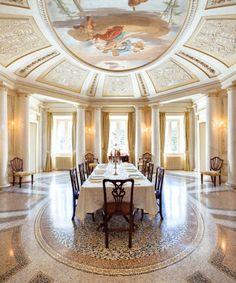 Dining Room with Appiano Fresco - Villa Passalacqua | Moltrasio #lakecomoville