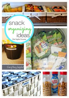 Easy ways to make a snack organization station for your kids! Organization Station, Pantry Organization, Organizing Your Home, Organizing Tips, Cleaning Tips, Do It Yourself Food, Life Hacks, Easy Snacks, Food Hacks