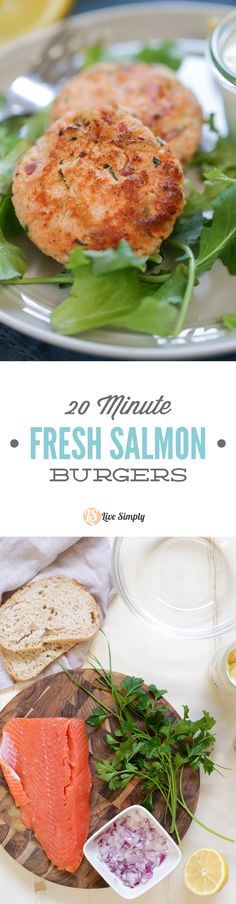 20 Minute Homemade Salmon Burgers!  Only twenty minutes is required to make a healthy dinner the whole family loves!