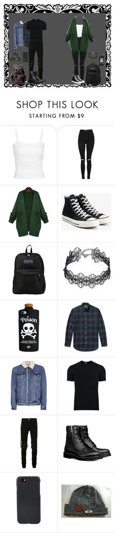 """Walking To School with Jughead"" by slytherin-emu-loner ❤ liked on Polyvore featuring Topshop, WithChic, Converse, JanSport, Design Lab, Valfré, Gitman Bros., Topman, Dolce&Gabbana and AMIRI"