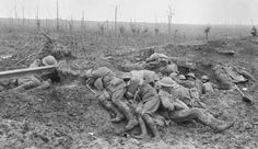 WWI, 11 Oct Exhausted stretcher bearers from the Australian Division rest in the mud and drizzle of Broodseinde Ridge, during the Third Battle of Ypres (Passchendaele). World War One, First World, Old World, Battle Of Passchendaele, Battle Of Ypres, Ww1 History, Modern History, Military History, Flanders Field