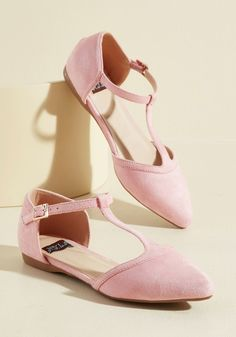 <p>The best way to relive memories of jaunts enjoyed in these pink flats? Buckling into their T-straps and letting the good times roll - again! With each step taken in the pointed toes and vegan faux suede of this ModCloth-exclusive pair, you'll recall fond moments while forming new, unforgettable ones.</p>
