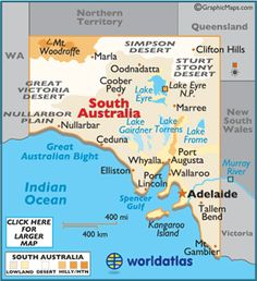 South Australia Map / Geography of South Australia / Map of South Australia Australia Facts, Australia Tours, Australia Living, Australia Travel, City Of Adelaide, Teaching In Japan, Melbourne, Australian Capital Territory, Geography