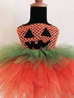 This Pumpkin Costume is great for babies who will experience their first Halloween! It is a great photo prop, made with three tiers of tulle along