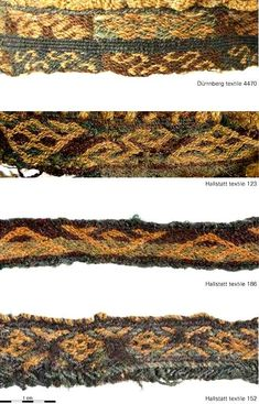 Complex tablet weaves with intricate motifs on Iron Age Celtic fabrics from Hallstatt and Dürrnberg, Austria.