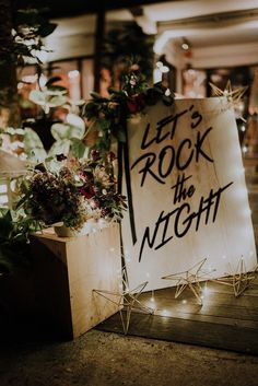 Gorgeous fairy lights and rock n roll decor with lots of florals and greenery // It's not everyday you see a true rock n Rocker Wedding, Edgy Wedding, Wedding Music, Wedding Beauty, Wedding Signs, Fall Wedding, Our Wedding, Dream Wedding, Punk Rock Wedding