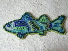 Custom Fish Barrette bead embroidery