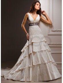 Organza/Tulle/Lace V-neck/Strapless/Scoop Neckline A-line Wedding Dress