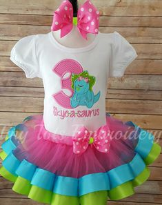 Girly Dinosaur Birthday Tutu Outfit   Includes Top Ribbon