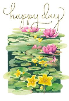 Water lillies and a wish for a happy day make this Marjolein Bastin card a thoughtful way to reach out to someone special. Birthday Cards, Happy Birthday, Art Birthday, Birthday Stuff, Marjolein Bastin, Nature Artists, Soft Colors, Happy Day, Painting Inspiration